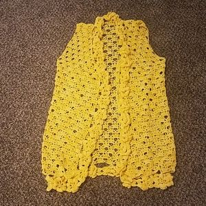 Vintage Knitted Handmade Long Vest